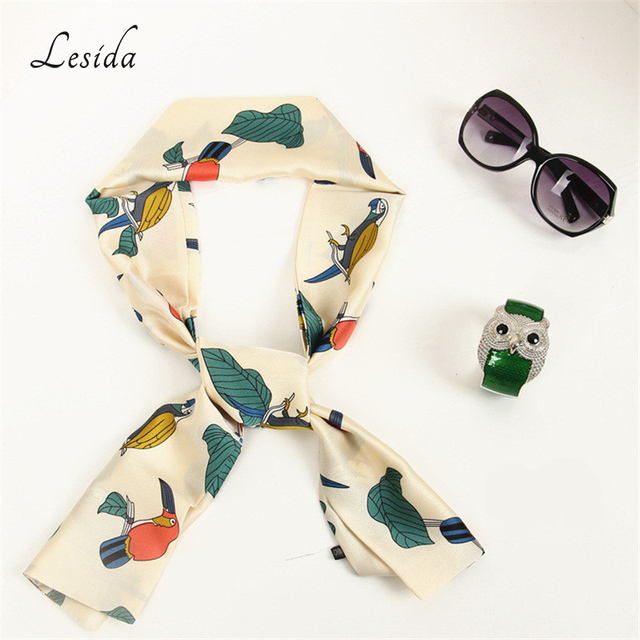 LESIDA Women Long Neckscarf Lovely Pattern Print Satin Silk Scarf Headband  All Match Beauty Ribbons Bag Scarves 145 15CM 4048 50c7a2bf0d4