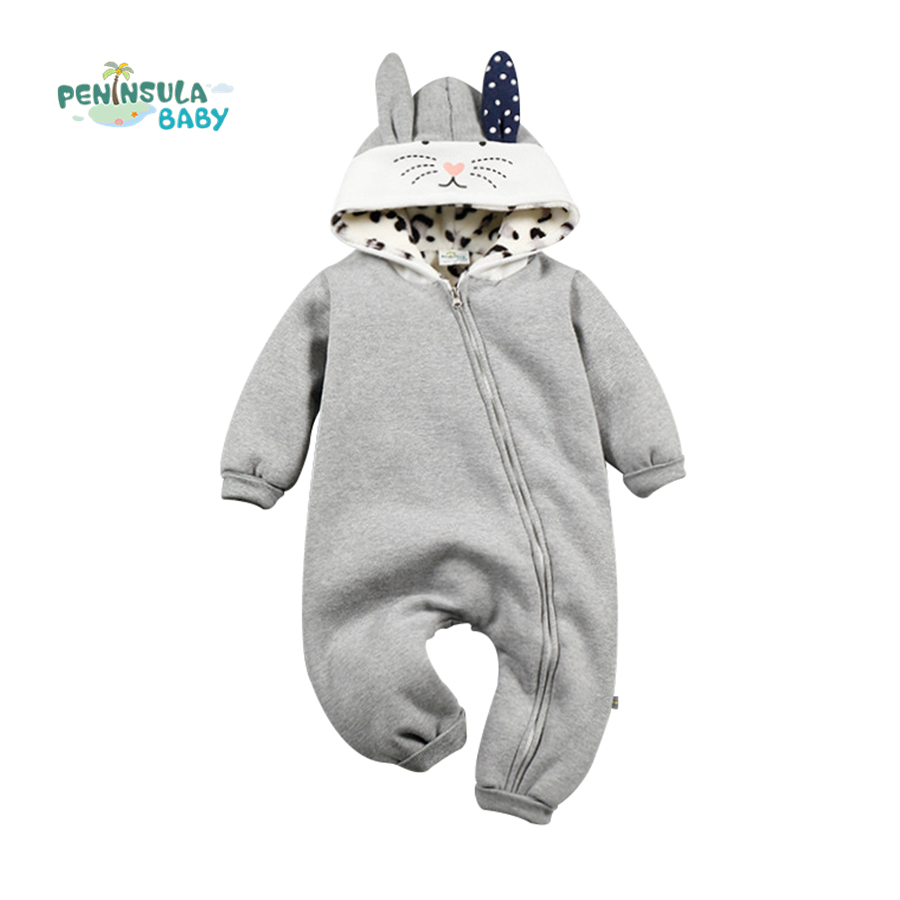 Newborn Baby Rompers Boys Girls Clothes Cotton Rabbit Hooded Zipper Jumpsuits Long Sleeve Toddler Infant Clothing Costume winter newborn bear jumpsuit patchwork long sleeve baby rompers clothes baby boys jumpsuits infant girls clothing overall