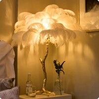 Перьевая настольная лампа для гостиной медная Чистая латунь Современный свет Роскошная нордическая вилла отель освещение для клуба
