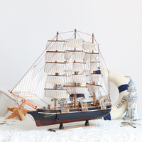 60cm Mediterranean Sailing Models Gifts Smoothly Wood Crafts Decoration Sailboat Sailing Wooden Boat Craft Manual Accessories
