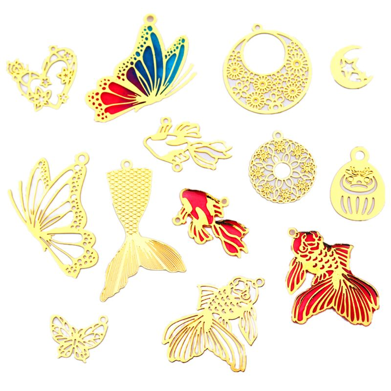 10 Pcs/Set DIY Crafts Crystal Drop Glue Frame Filler Goldfish Butterfly Love Round Plate Shape Border Making Jewelry Accessories