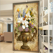 3D Custom wallpaper  European retro painting vase Floral entrance hallway