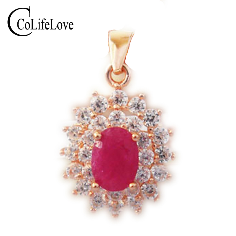 Classic genuine ruby pendant 5 mm 7 mm natural ruby gemstone solid 925 silver ruby necklace