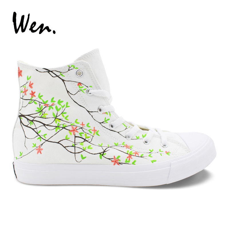 все цены на Wen Design Flower Shoes Pink Rose Floral Hand Painted Shoes Women Canvas Sneakers Laced Flat High Top Trainers Plimsolls White