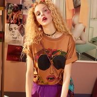 ELF SACK 2018 Summer Ulzzang Women T Shirts Character Sunglass Prints Tops Womens Printed Tees Shirt