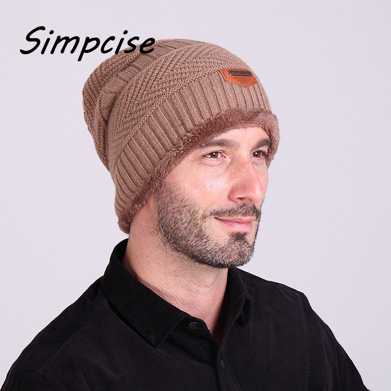 1bd1a24e878 SIMCISE Autumn Winter warm beanies for men hats fahion Casual Cap Thick  knitted hat bonnet plus velvet caps for men beanie H7004-in Skullies    Beanies from ...