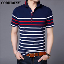 COODRONY Cotton T Shirt Men Short Sleeve T-Shirt Summer Social Business Casual Mens T-Shirts Striped Tee Homme S95101