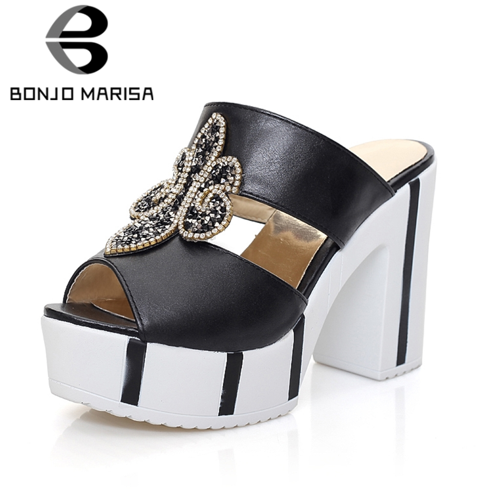 BONJOMARISA Brand New 2018 Metal Decoration Platform Women Shoes Summer Mules Pumps Trendy Square High Heels Slip On Shoes Woman xiaying smile new summer women sandals high square heels pumps fashion platform shoes casual lady mature style slip on shoes
