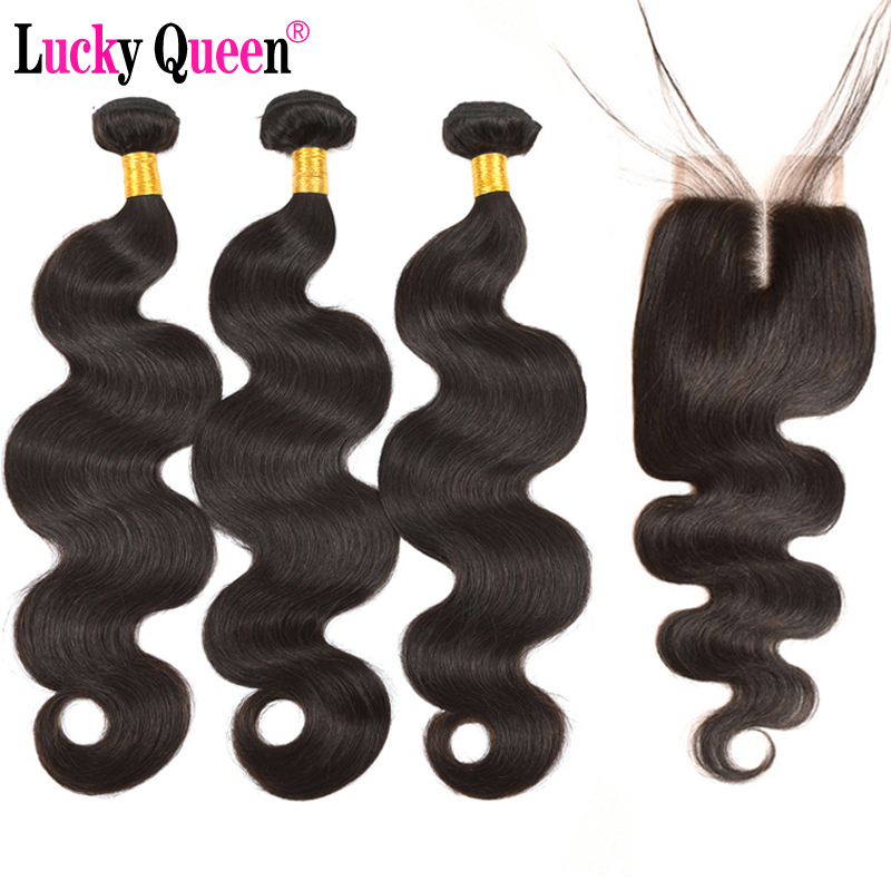 Brazilian Body Wave Hair With Bundles with Closure 4pcs/lot Remy Human Hair Bundles with Closure with baby hair Lucky Queen Hair
