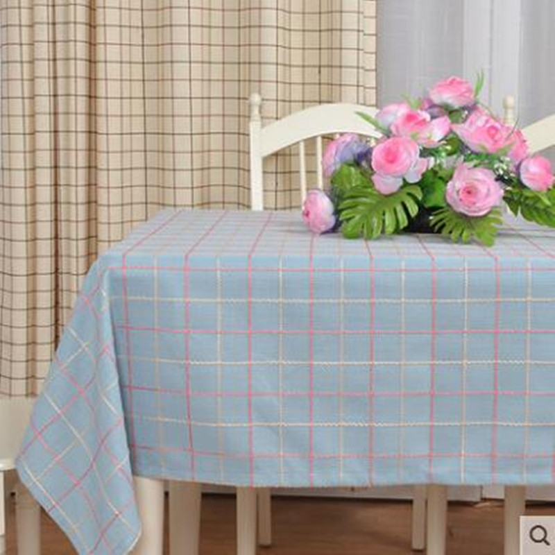 American rural small antependium fabric cotton and linen rectangular grid and fresh round tea table table cloth towels in Tablecloths from Home Garden