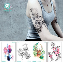 Hot sale Large Arm Tattoo Designs With Tiger Lion Snake Unicorn Body Temporary Fake Sticker For Men Women Waterproof