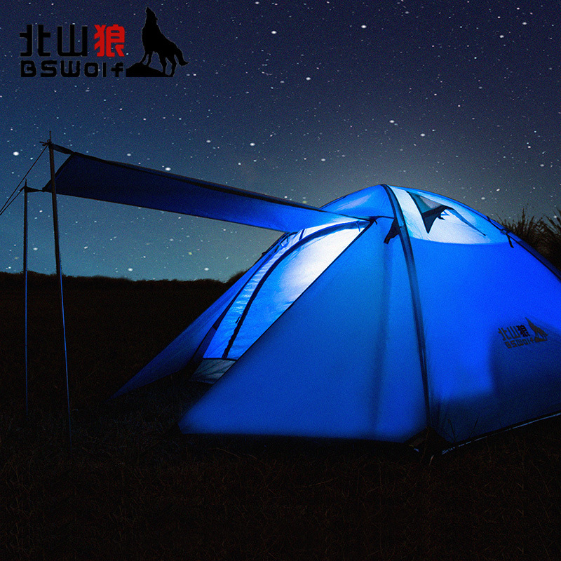 BSWolf outdoor three person double deck double door, breathable camping tent, aluminum pole double layer family rainproof high quality outdoor 2 person camping tent double layer aluminum rod ultralight tent with snow skirt oneroad windsnow 2 plus