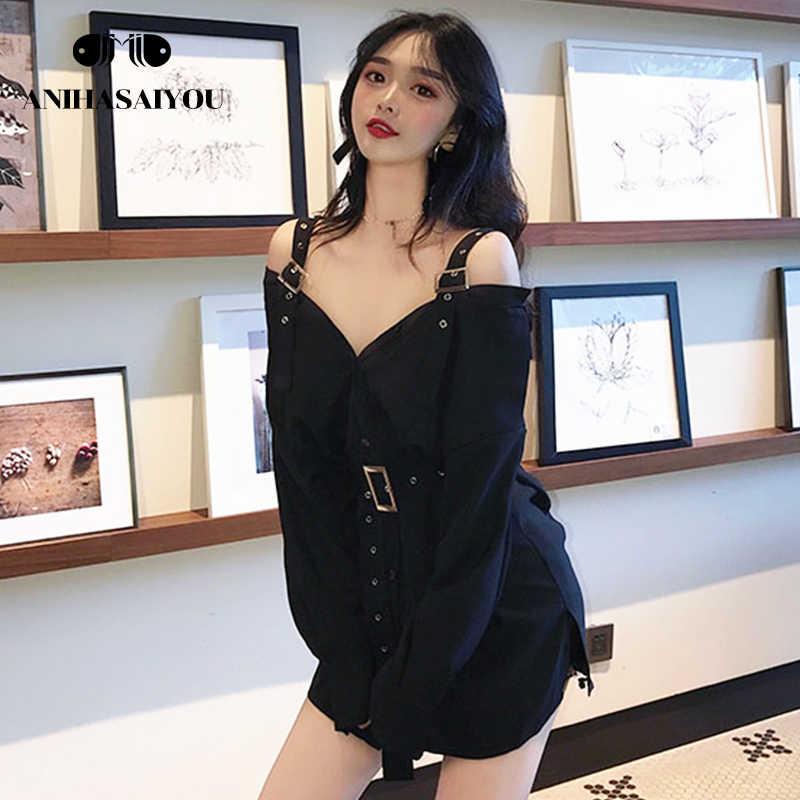 ฤดูใบไม้ร่วง Vintage เอวด้านบน blusa feminina เสื้อแขนยาวสีดำโลหะสายคล้องคอที่ไม่มีสายหนังกลางความยาวสตรีเสื้อและเสื้อ