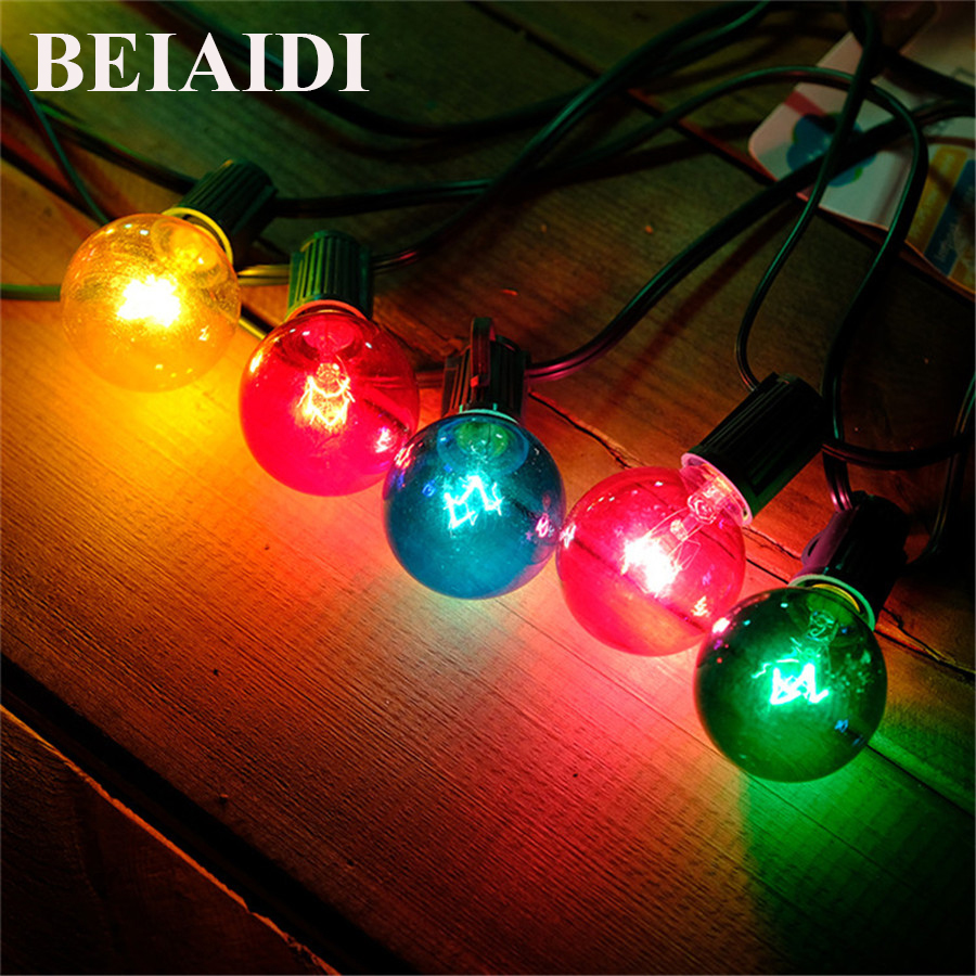 Beiaidi 25ft G40 Bulb Globe String Lights 25pcs Globe