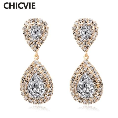 Купить chicvie модные свадебные серьги золотого цвета с кристаллами