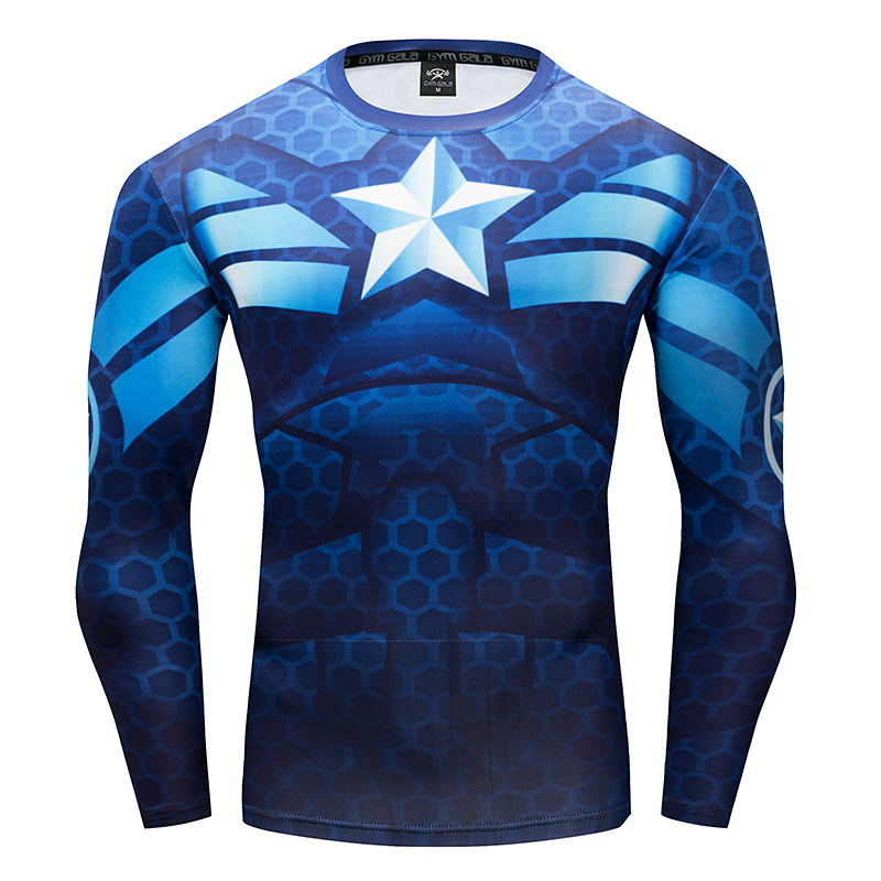 2017 New Fitness Compression Shirt Men Captain America Superman Flash Bodybuilding Long Sleeve 3D T Shirt Crossfit Tops Shirts