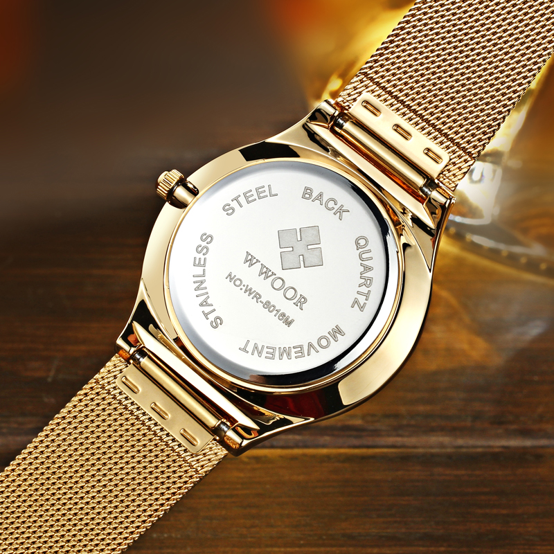 Image 3 - relogio masculino WWOOR  Gold Watch Men Ultra Thin Classic Male Wristwatch Business Golden Mens Watches Top Brand Luxury 2019-in Quartz Watches from Watches