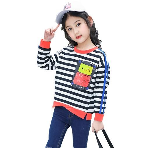 Girls Long Sleeve T-Shirt Kids Spring Autumn Striped Cotton Tops Teenager Clothes Girl T ...