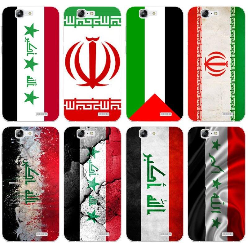 H096 Ирак флаг прозрачный жесткий тонкой кожи, чехол для Huawei P 6 7 8 9 10 lite плюс Honor 6 7 8 4c 4x G7
