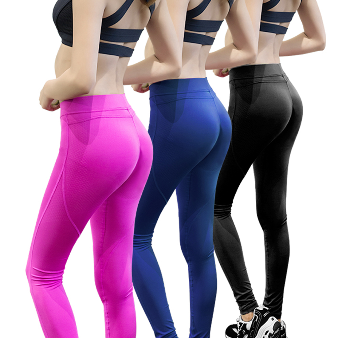 NEW Sex low Waist Stretched Sports Pants Gym Clothes Running Tights Women Sports Leggings Fitness Yoga Pants 3 Colors