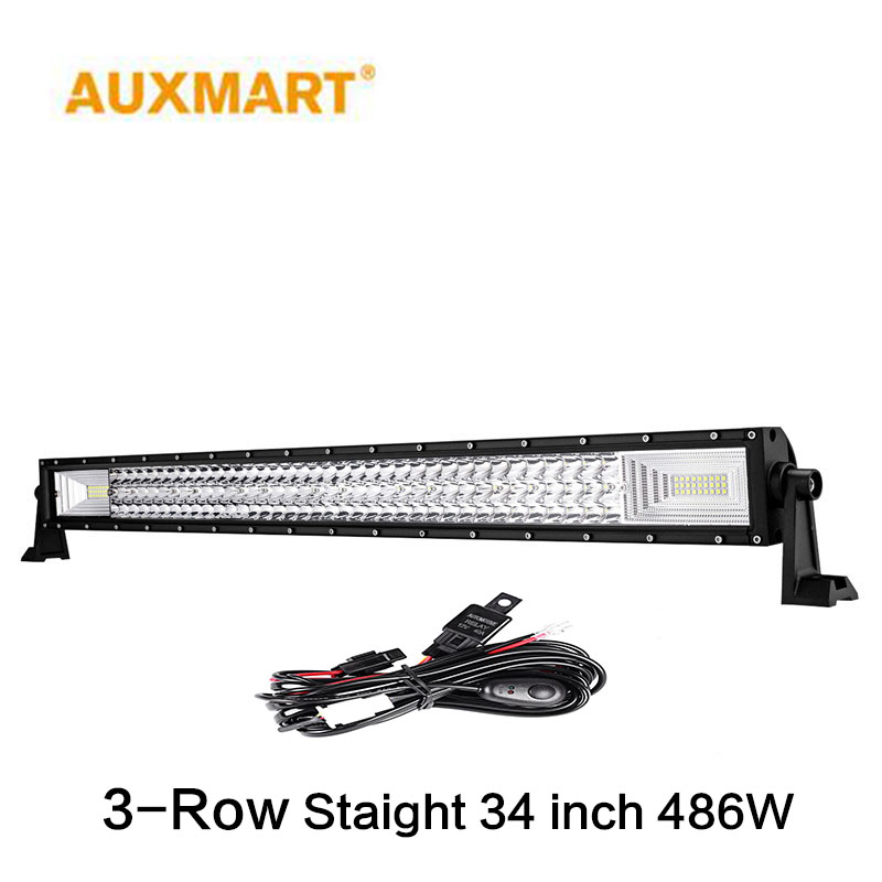 Auxmart 34 Straight LED Light Bar Triple Row 486W Combo Offroad Driving Work Light for Truck PickUp SUV 4X4 12v 24v auxmart 22 led light bar 3 row 324w for jeep wrangler jk unlimited jku 07 17 straight 5d 400w led light bar mount brackets