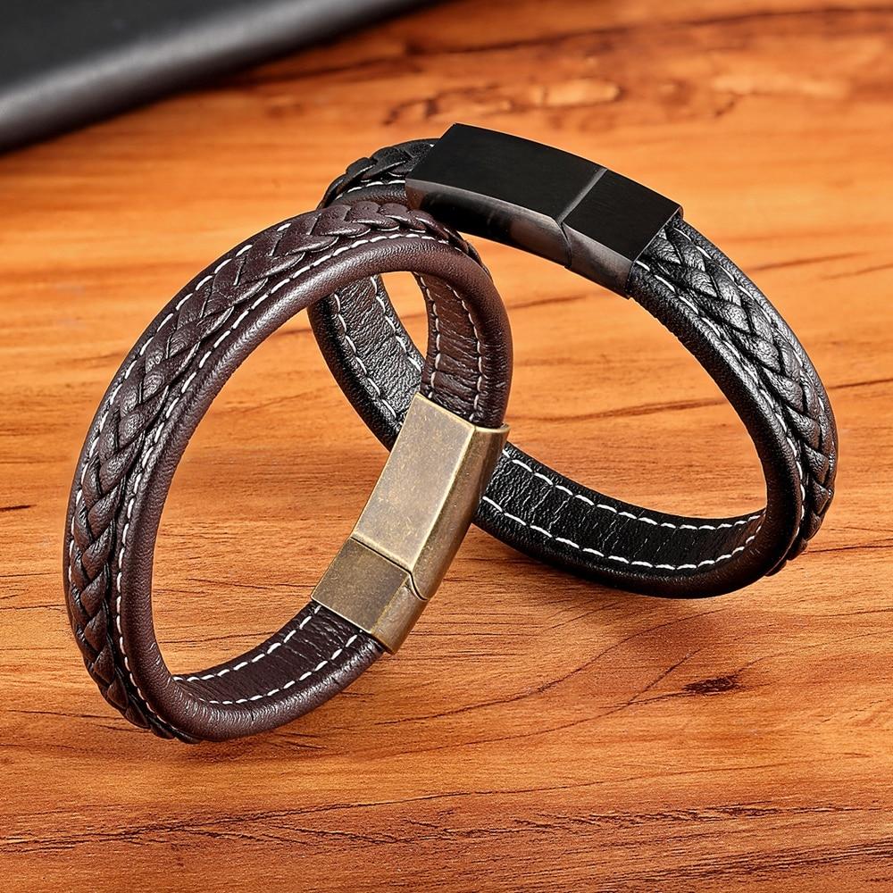 XQNI 2018 New Grid Texture Bracelet Vintage Buckle Genuine Leather Bracelet For Homme Gold/Black/Rose Color Accessories Jewelry