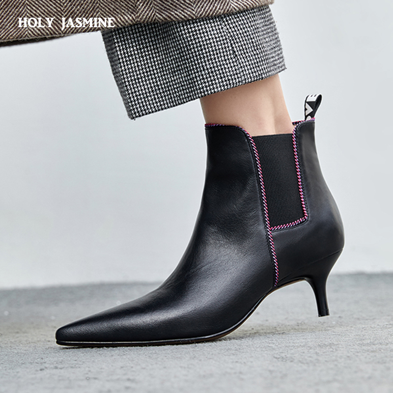 2018 New brand shoes women ankle boots genuine leather high heels pointed toe black white shoes woman dress winter boots women 2018 autumn winter women shoes ankle boots genuine leather pointed toe high heels embroidery black runways shoes tenis feminino