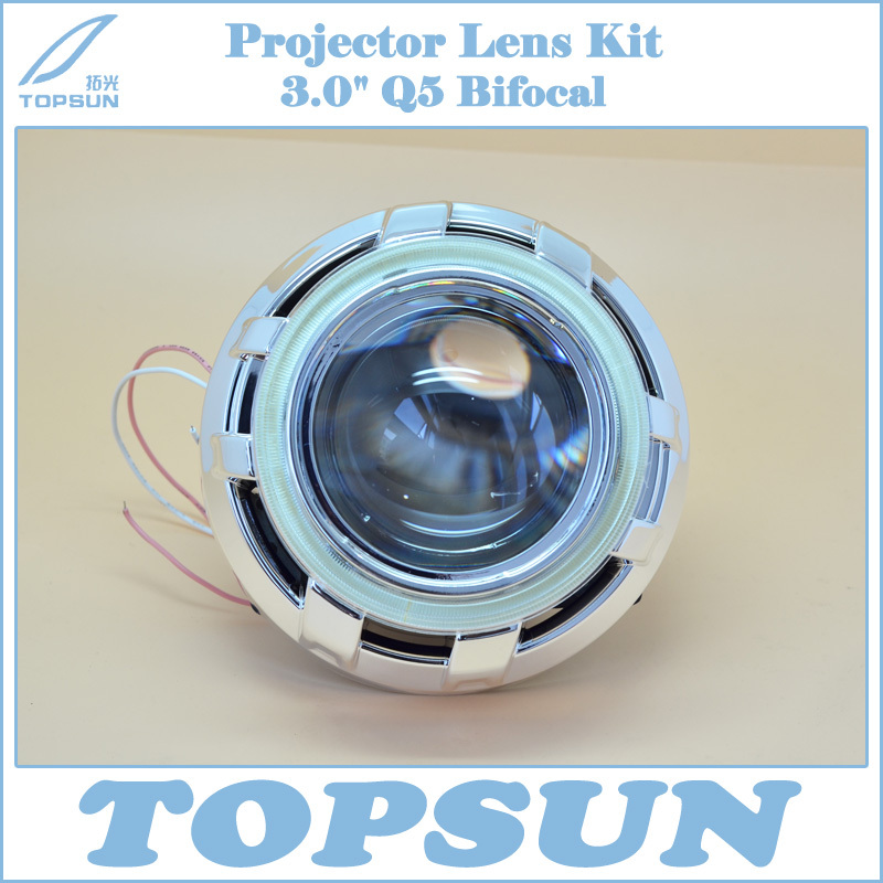 GZTOPHID 3 inch  Q5 H4 Projector Lens Bi-xenon H/L Beam HID with Shroud, CCFL Angel Eyes and Inverter, Headlight Retrofit Kit taochis 3 0 inch bi xenon hella projector lens hid d1s d3s d4s d2s shroud devil angel eyes head lamp upgrade demon eye