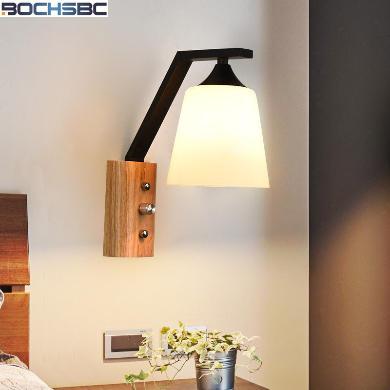 Modern Wooden Iron Wall Lamps Sconces Living Room Restaurant Bedroom Decorative Wall Lights Study Lamparas Home Lighting luxury wall sconce fixture k9 crystal wall light sconces home decor wall lamps beside modern led lights for living room bedroom
