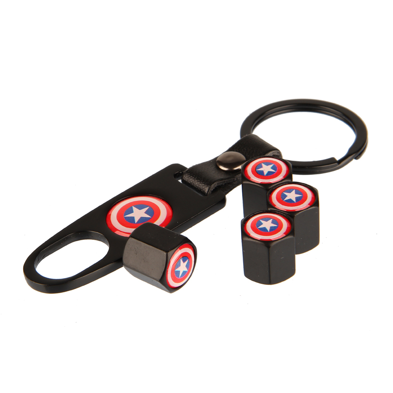 4pcs/Set Metal Car Styling Captain America Logo Wheel Tire Valve Caps Covers With Key Ring Wrench