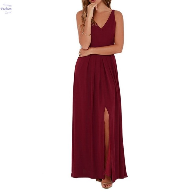 Elegant Party Dress Women V Neck Sleeveless Summer Maxi Dresses Wine Red Split Chiffon Long Dress Vestidos De Fiesta largos 20z