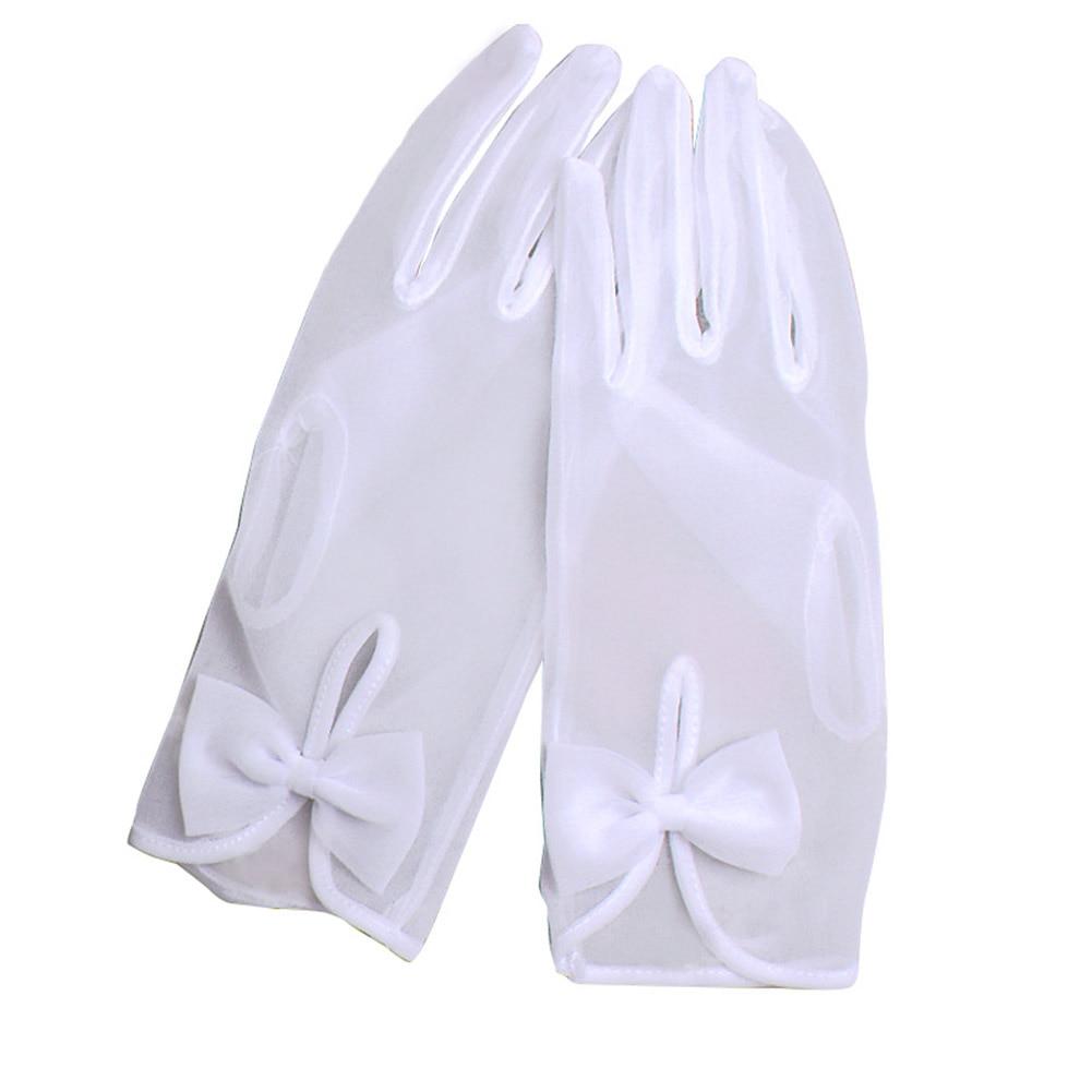 1 Pair Womens Elegante Bogen Handschuhe Sonnencreme Gaze Kurze Handschuhe Bankett Hochzeit Abend Halloween Phantasie Kleid Partei Kostüm Handschuhe