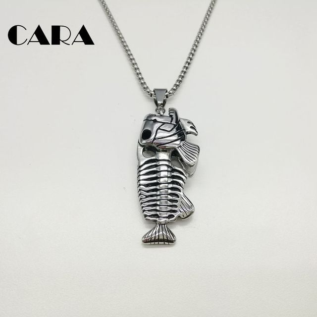 2018 new hip hop chain men big fish bone statement pendant necklaces 2018 new hip hop chain men big fish bone statement pendant necklaces gold color 316l stainless aloadofball Image collections