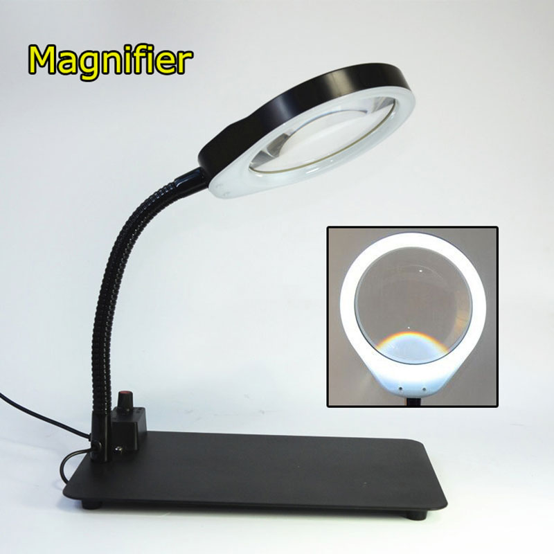 Crafts Glass Lens LED Desk Magnifier Lamp Light 8X Magnifying Desktop Loupe Repair Tools with adjustable 48 LEDs Stand