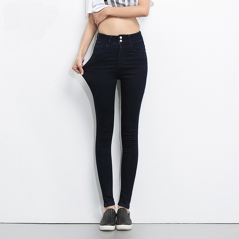 Plus Size Zipper  Women Jeans High Waist Blue Pants Women High Elastic Skinny Pants Stretchy Women Trousers  womens clothing