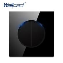 Wallpad-interrupteur mural L6, 2 boutons, 1 voie, bouton poussoir en verre trempé, noir, bleu indicateur LED