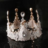 Round Baroque Big Crystal Crowns Wedding Bride Hair Headdress Bridal Decoration on the Head Piece Tiara Jewelry Princess Crown