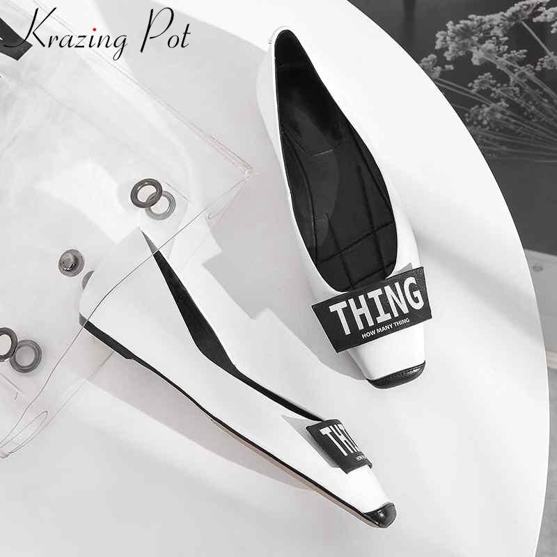 Krazing Pot 2019 full grain leather leather letter decoration brand women square toe casual handmade energy