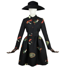 FREE SHIPPING 2016 Spring New Vintage High Waist Long Sleeved Shirt Polo Collar Black Slim Tutu Dress Women Vestidos Clothing