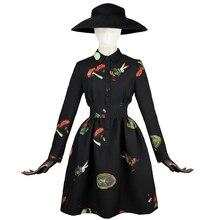 FREE SHIPPING 2016 Spring New Vintage High Waist Long Sleeved Shirt Polo Collar Black Slim Tutu Dress Women Vestidos Clothing