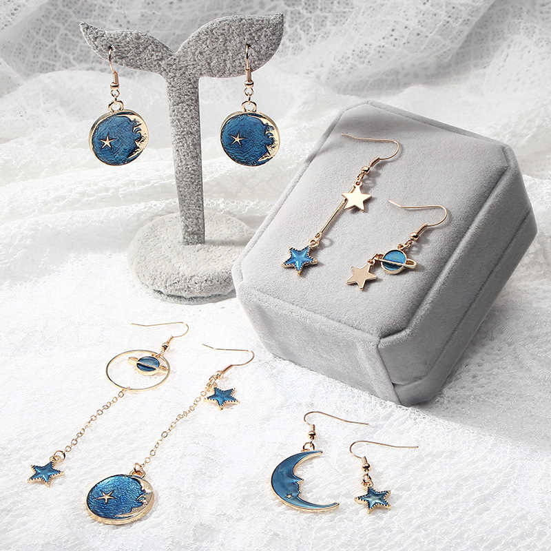 2018 Fashion Korean Romantic Girls Blue Heart Star Moon Long Asymmetric Dangle Drop Earrings Variety Personality Cute Jewelry