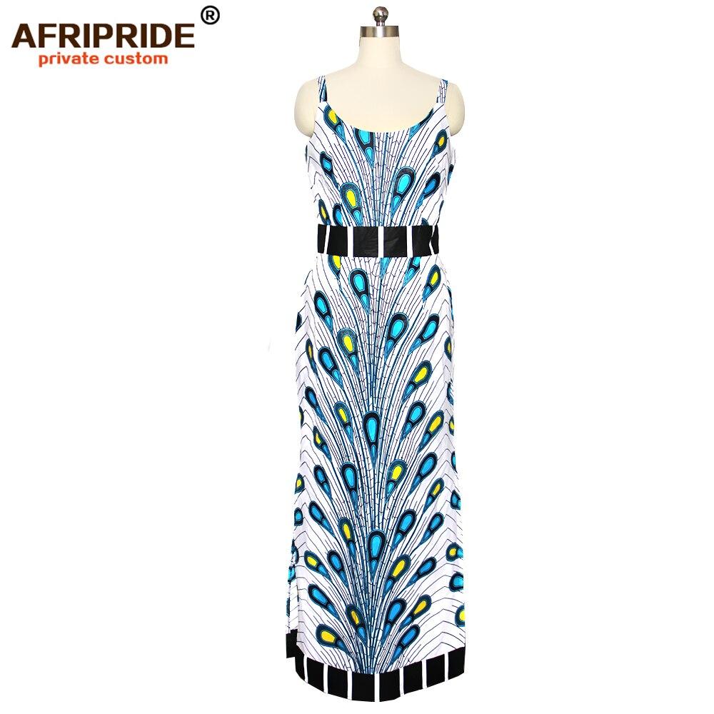 Kadın Giyim'ten Elbiseler'de 2019 bahar kadınlar için afrika elbise AFRIPRIDE tailor made bazin richi kolsuz ayak bileği uzunluk yan bölünmüş kadınlar elbise A1825112'da  Grup 2
