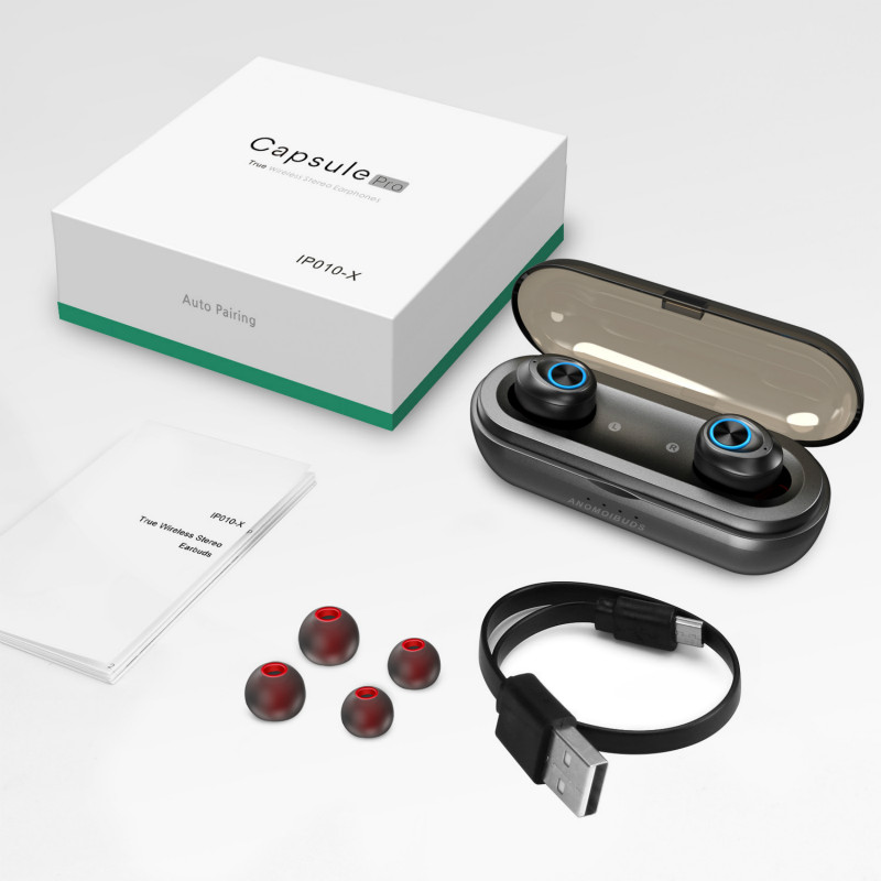 RAVI Capsule Pro 50 Hour Playtime IP010-X Support AAC <font><b>TWS</b></font> Earbuds V5.0 Bluetooth Earphone Deep Bass Hi-Fi Stereo Sound Earphone image