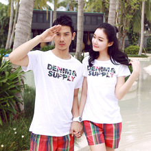 Korean lovers, cotton shorts loose big yards , couple T -shirt, short-sleeved shirt printing short-sleeve lovers
