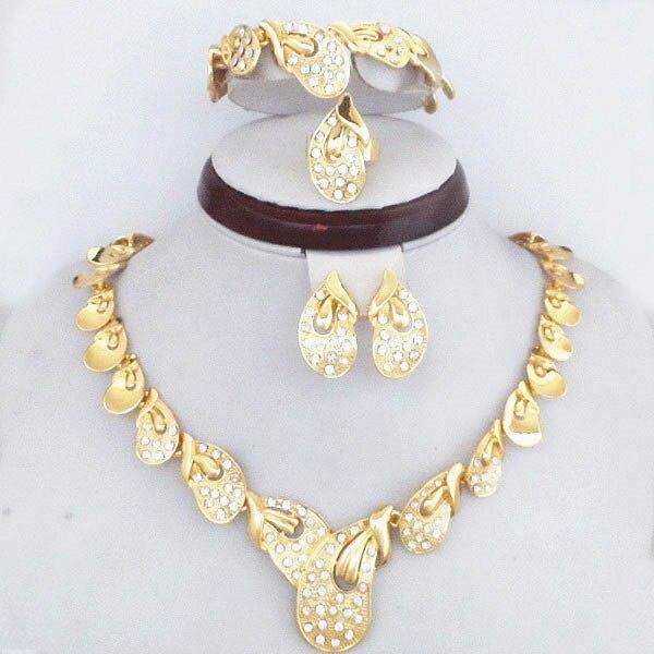 Роскошный 18 К настоящее позолоченные кристалл ювелирные изделия свадебный свадебный устанавливает мода дубай золотые женщины ювелирные комплект
