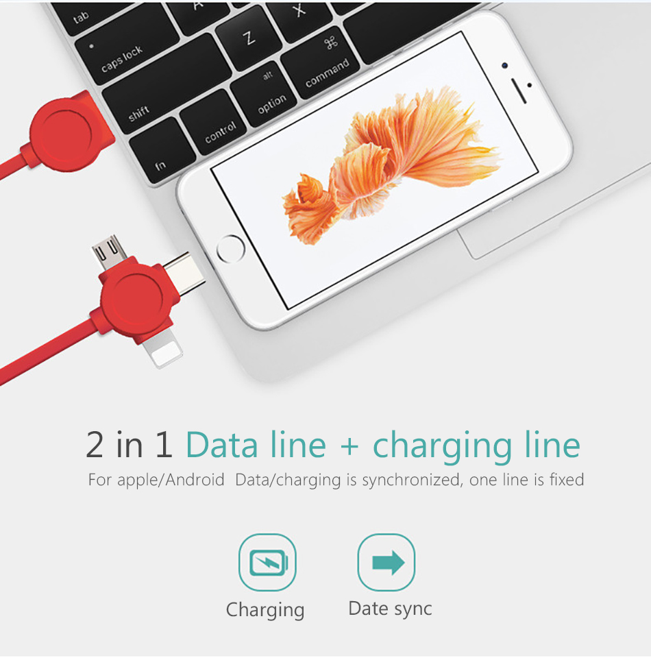 NOHON 3 in 1 USB Cable For iPhone X 8 7 6 Cable Micro USB Type C Cable For Samsung S9 S8 Fast Charging Date Cable Charger Cord (5)
