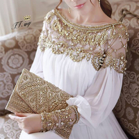 2018 women new fashion elegant vestidos formal korean runway white party long maxi spring summer dress long sleeve gold Jewelry