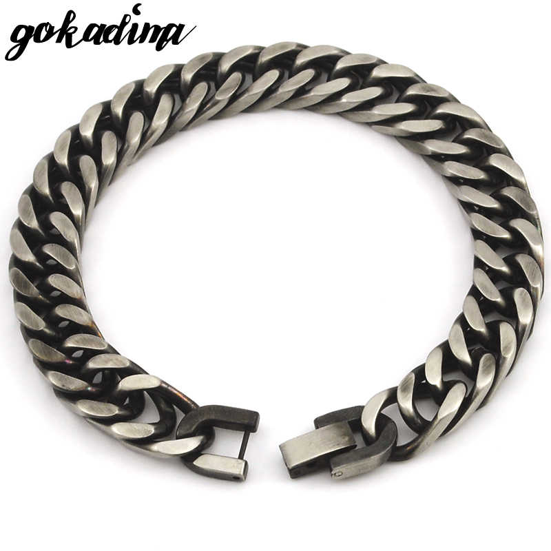 GOKADIMA 2018 New Style Antique Finished Stainless Steel Chain Bracelet Men Jewelry Party Christmas Gift