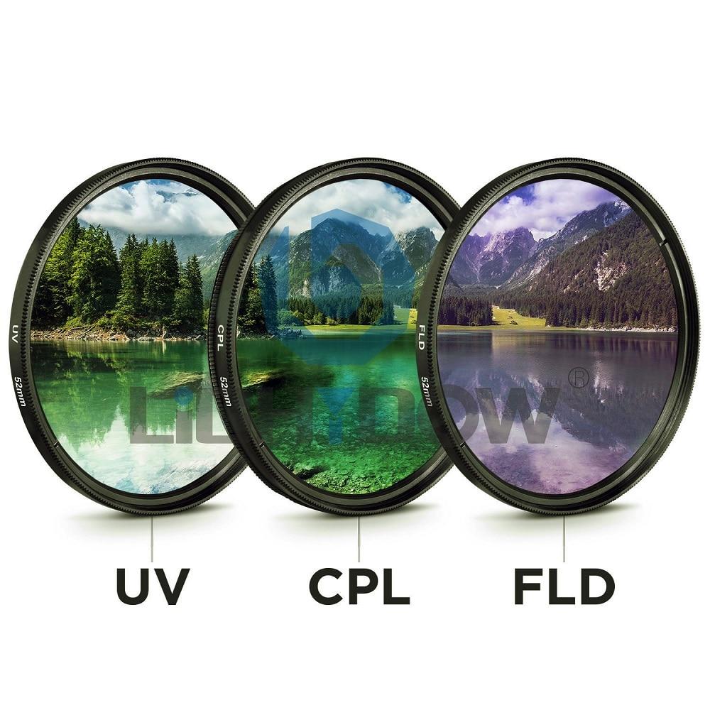 49mm 52mm 55mm 58mm 62mm 67mm 72mm 77mm UV + CPL + FLD 3 en 1 lente filtro con bolsa de cañón Nikon Sony Pentax lente de la cámara