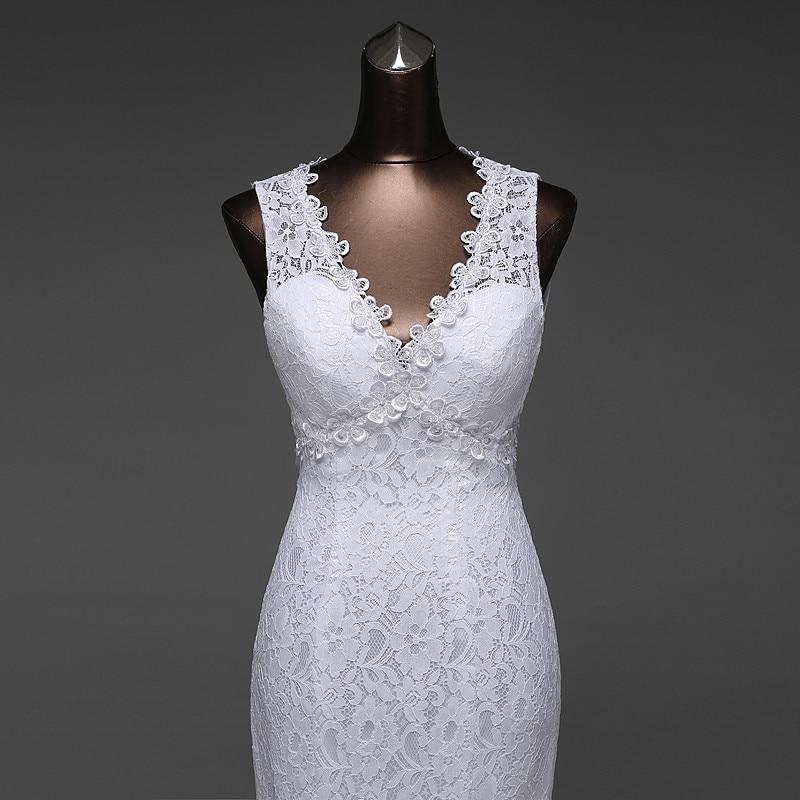 V-Neck Beautiful Backless Mermaid Wedding Dress 2